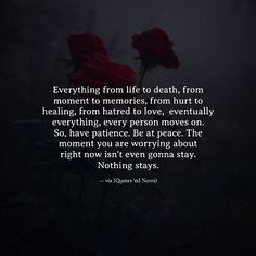 Everything from life to death from moment to memories from hurt to healing from hatred to love eventually everything every person moves on. So have patience. Be at peace. The moment you are worrying about right now isn't even gonna stay. Nothing stays. via (http://ift.tt/2jYgj1r)