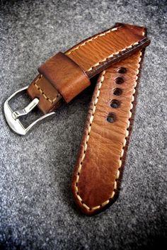 Handmade Watch Strap and Custom Watch Strap - Tan watch strap - Made in Australia