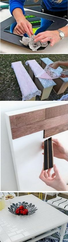 Diy Furniture - THE LAST ONE: a table covered in mesh backsplash, could use for the counter tabl. Diy Home Decor Projects, Furniture Projects, Furniture Makeover, Home Furniture, Furniture Design, Laminate Furniture, Furniture Repair, Funky Furniture, Furniture Layout