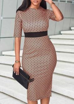 Rotita Hot Dress on 2018 Printed Half Sleeve High Waist Sheath Dress African Fashion Dresses, African Attire, African Wear, African Women, African Dress, Bodycon Dress With Sleeves, Dresses With Sleeves, Sleeve Dresses, Sexy Dresses