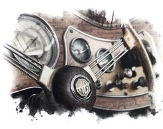 """mg dashboard"" colored pencil on paper by Monika Godsmark"