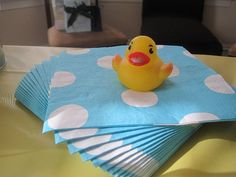 These Target napkins were perfect for the rubber duck theme of my son's 1st birthday party!