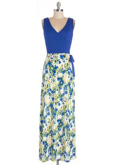 Garden Blueprints Dress. With every detail planned, your garden is sure to be perfection, much like your charming style wearing this sleeveless dress. #blue #modcloth