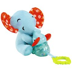 Fisher-Price pull up toy elephant 2017 - The plush elephant Mommy made of soft plush has a green biting help sheet and is connected via a fabric band with her elephant baby, which includes bitin. Small Elephant, Elephant Ears, Fisher Price Baby Toys, Baby Calm, Preschool Toys, Baby Rattle, Christmas 2015, Having A Baby, Baby Gear