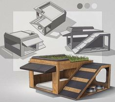 dog house Dog House Design for weeklydesignchallenge. Dual level with a little rooftop grass patio. Modern Dog Houses, Cool Dog Houses, Pet Beds, Dog Bed, Dog Bunk Beds, Dog House Plans, House Dog, Dog Playground, Dog Furniture