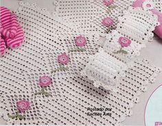 Vejam! Que lindinho para seu banheiro. Para alegrar na primavera, este jogo em crochê pode ser adaptado em barbante também. Adoro esta moda...
