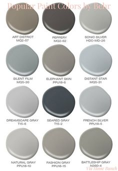 Popular Behr Paint Colors. Behr Best Sellers. Behr Art District. Behr Peppery. Behr Sonic Silver. Behr Silent Film. Behr Elephant Skin. Behr Distant Star. Behr Dreamscape Gray. Behr Seared Gray. Behr French Silver. Behr Natural Gray. Behr Fashion Gray. Behr Batleship Gray. popular-paint-colors-by-behr Via Home Bunch: