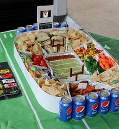 Snack Stadium Tutorial. Learn how to make this super easy Snack Stadium with working jumbotron. #GameDayGlory #ad
