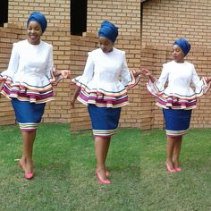 Pedi Traditional Attire, Sepedi Traditional Dresses, South African Traditional Dresses, Traditional Fashion, African Fashion Skirts, African Print Dresses, African Print Fashion, African Dress, African Prints
