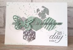 handmade card from idea fire ... silve and mint ... heat and dry embossing ... punched hexagons ... die cut butterfly ... one layer ... Stampin' Up