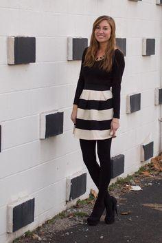Black & White Striped Skirt $42 #fringeandlace #blackandwhitestripedskirt