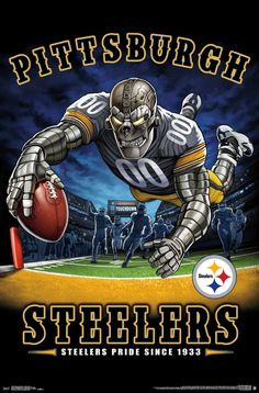 The Pittsburgh Steelers Pride Poster hangs perfectly in any bedroom, man-cave, office and den for any Steelers fan. Officially Licensed through NFL Measures High Quality - Crystal Clear Image Printed on FSC-Certified Paper at FSC-Certified Printers Pittsburgh Steelers Wallpaper, Pittsburgh Steelers Helmet, Pittsburgh Steelers Football, Nfl Football Teams, Football Art, Football Stuff, Dallas Cowboys, Pitsburgh Steelers, Seattle Football
