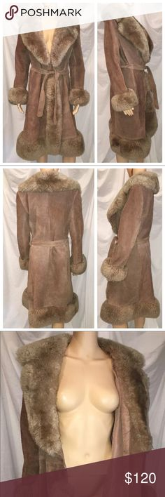 70's Vintage Leather Suede Penny Lane BOHO Small 70's Vintage Leather Suede Penny Lane Bohemian BOHO Chic Hippie Coat Gypsy Small   Measurements are laying flat, armpit to armpit is 20 inches wide, waste is adjustable as it ties with a belt, widest point of waist is 20 inches lying flat, total length of this coat is 40 inches from bottom of the neckline to the bottom hem.   Very cool vintage piece, nice fluffy bow for collar cuffs and trim around the jacket! And great solid preowned vintage…