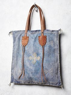 Boho Bags, Fringe Purses & Handbags for Women at Free People Denim Purse, Fringe Purse, Leather Handle, Leather Bag, Denim Crafts, Recycle Jeans, Boho Bags, Recycled Denim, Fabric Bags