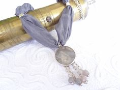 Grey Mother of Pearl Silver Plated Pendant Necklace-Gray Turkish Silk Necklace. $35.00, via Etsy.
