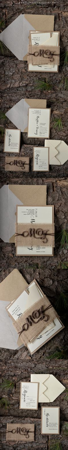 Wedding Invitations with Burlap Belly Band & Wooden Tag #woodland #realwood #weddingideas