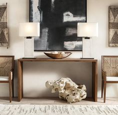 Rectangular Column Limestone Table Lamp