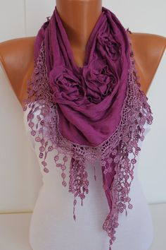 Purple Rose Cotton Shawl/ Scarf  Headband Cowl with Lace by DIDUCI, $19.00