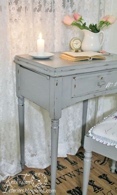 Repurposed Sewing Table into a French Script Desk ~~by Knick of Time @ http://knickoftimeinteriors.blogspot.com/