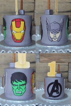 Buttercream Avenger's Smash Cake using fondant to create the Avengers faces with a classic comic book style from Kaylin Jones Cupcakes