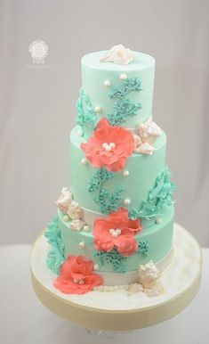 Teal and Coral Beach Themed Cake Wedding Cake beach wedding Teal an Coral Beach Themed Cake Coral Wedding Cakes, Wedding Colors, Cake Wedding, Wedding Veils, Wedding Hair, Bridal Hair, Coral Cake, Wedding Mandap, Wedding Ideas