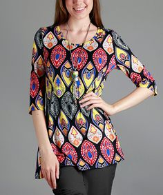 Take a look at this Simply Aster | Red & Yellow Abstract Tunic - Plus Too today!
