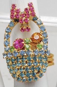 Easter Basket Ring/Seafoam Green/Pink/Green/Gold/Rhinestone/Gift For Her/Adjustable/Under 12 USD