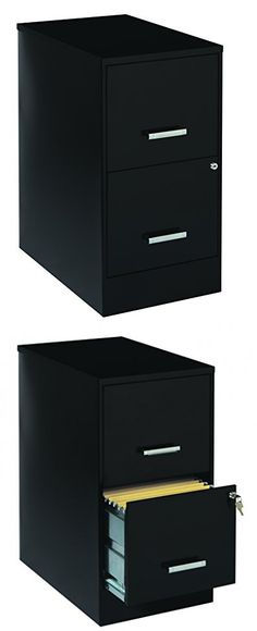 Merveilleux Space Solutions 2 Drawer File Cabinet, 22 Inch Deep, Black