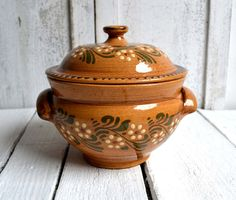 French Ceramic Casserole Dish Rustic by shabbyfrenchvintage