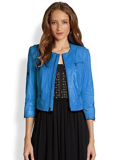 Alice + Olivia - Cam Quilted Leather Biker Jacket  #blue