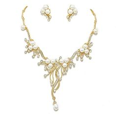 Ivory Pearl Branch and Vine Gold Plated Necklace Set Fashion Pearl Bridal Jewelry *** Be sure to check out this awesome product.