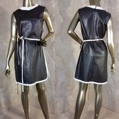 Vintage 60s Mallory by Nan Herzlinger Mod Leather Dress Brown and Ivory Racer Stripe Sleeveless Belted (75.00 USD) by DigSiteFinds