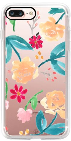Casetify iPhone 7 Plus Case and other Peach iPhone Covers - Peach and Teal Floral by Michelle Mospens | Casetify