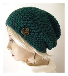 Emerald Green Slouchy Beanie hat with button options Boho Chic Hand Crocheted womens fall autumn winter fashion accessories Crochet Woman, Hand Crochet, Crochet Hats, Crochet Beanie, Slouchy Beanie, Beanie Hats, Beanies, Bohemian Chic Fashion, Boho Chic