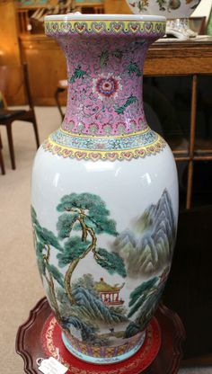 Sold! Stunning large Chinese Baluster Vase. Height is 24 inches, top diameter is 7 inches.