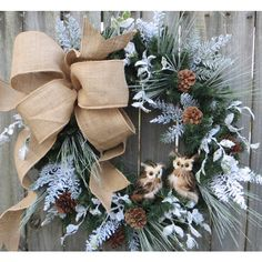 Christmas Wreath Winter Wreath Burlap Owl Wreath Snowy Greenery Snow... ($89) ❤ liked on Polyvore featuring home, home decor, holiday decorations, grey, home & living, home décor, ornaments & accents, burlap wreath, outdoor artificial christmas wreaths and outdoor wreaths