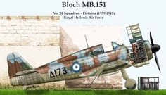 Bloch MB.151 RHAF No 24 SQ Elefsina 1939-1941, Artwork by Giannis Miltsios .