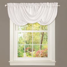 Lush Decor Lucia White Valance For Windows In Kitchen And Living Room
