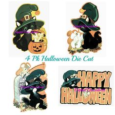This listing includes a series of 4 Die Cut Halloween decorations.