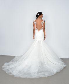 beautiful wedding dress with illusion back