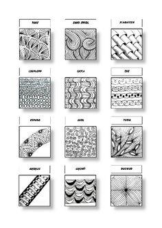 Zentangle Pattern Sheet 7 Patterns: Fans, Sand Swirl, Planateen, Looplopp, Cayla, Eke, Copada, Curl, Yuma, Arckles, Crezn´t, Dugwud