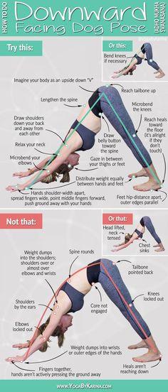 Yoga Tutorial: How To Do Downward Facing Dog Pose Yoga iyengar yoga Vinyasa Yoga, Yoga Bewegungen, Yoga Moves, Yoga Flow, Yoga Workouts, Hatha Yoga Poses, Yoga Sequences, Kickboxing Workout, Iyengar Yoga