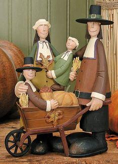 Pilgrim Family Figurine – Harvest Folk Art Figurines & Thanksgiving Collectibles – Williraye Studio