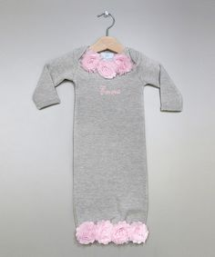 Gray & Pink Rosette Personalized Gown - Infant by Princess Linens Layette #zulily #zulilyfinds
