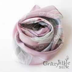 """Hand painted silk scarf. Pale lavender with floral and pink pearls ornament. Natural silk (10 mm). Narrow womens scarf (womens necktie) - 55"""" x"""