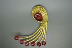 Vintage RARE 60s Goossens for Balenciaga Gripoix red glasses dress clip Brooch