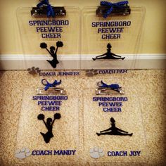 coach gifts - vinyl clipboards These would make good softball coach or any coach gifts Cheer Coach Gifts, Cheer Coaches, Cheer Stunts, Cheerleading Gifts, Cheer Gifts, Team Gifts, Softball Gifts, Basketball Gifts, Cheer Bows