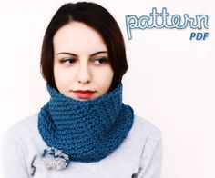 Crochet Pattern Cadet Blue Pom Pom Ski Neck Warmer Cowl