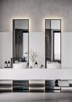 Minimalist design and visualization of the bedroom and bathroom. Bad Inspiration, Bathroom Inspiration, Bathroom Ideas, Bathroom Design Luxury, Home Interior Design, Toilette Design, Minimal Bathroom, Minimalist Bathroom Design, Restroom Design