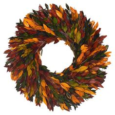 A brilliant spiral of fall-toned myrtle leaves, this harvest wreath welcomes guests in seasonal style. Product: Preserved wreath